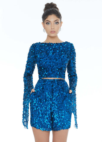 Ashley Lauren 4288 two piece beaded romper with bell sleeves pageant wear homecoming dress cocktail dress  Make a statement in this two piece sequin beaded romper with high neckline and bell sleeves and matching romper shorts  Available colors:  Midnight
