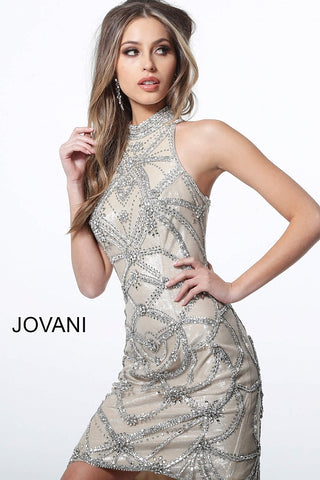 Jovani 4295 high neckline embellished fitted cocktail dress