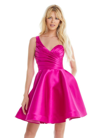 Ashley Lauren 4377 one shoulder A line cocktail dress short prom pageant dress. Available colors;  Magenta, Teal  Available sizes:  0-12  Elegant one-shoulder cocktail dress featuring a ruched bustier giving way to A-line skirt.  One Shoulder Mikado Ruched Bustier A-Line