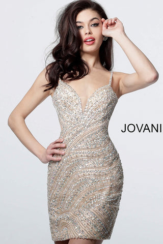 Jovani 4404 Homecoming Dress 2019 Short Cocktail Gown Crystal Fitted