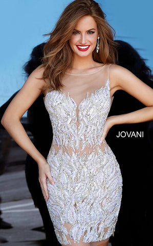 Jovani 4545 Sheer Illusion Embellished Sexy Cocktail Gown Party Dress 2020 Formal Short