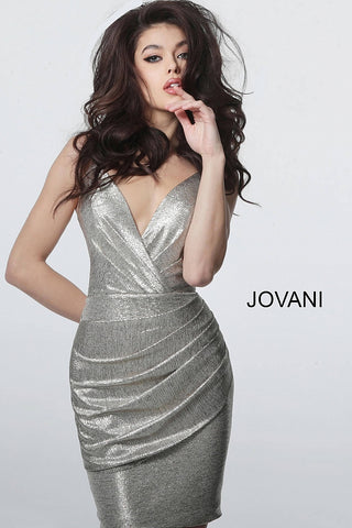 Jovani 4550 Metallic V Neck fitted Short Cocktail Wrap dress Ruched Gown Party 2020