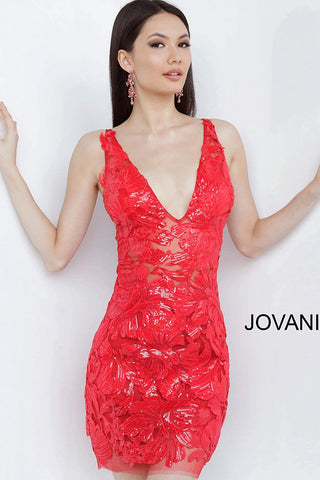 Jovani 4552 Short V Neckline Fitted Sequin Gown 4552 Cocktail Sheer Lace Dress