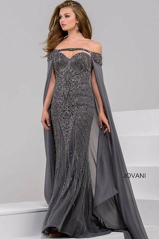 Jovani 45566 off the Shoulder Beaded Sweetheart Neck Dress 45566 Embellished tulle, lace underlay, form fitting, strapless, sweetheart neck, long off the shoulder chiffon cape beaded on top.