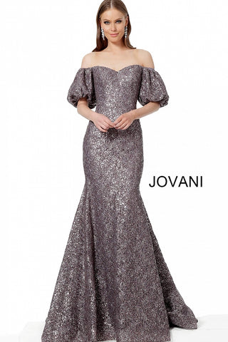 Jovani 4573 Lavender Lace Off the Shoulder Bell Evening Mermaid Dress Formal Puff