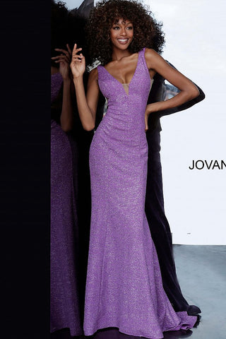 Jovani 45811 plunging neckline stretch glitter jersey prom dress