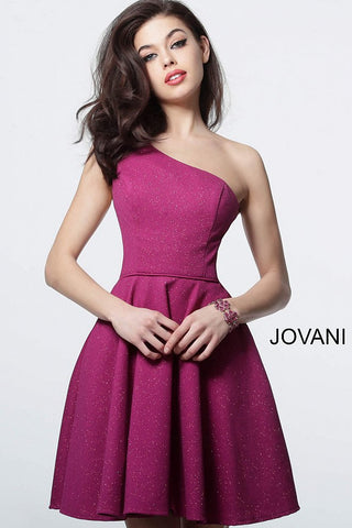 Jovani 4584 one shoulder fit & flare homecoming dress Short Coctail Party Pleated