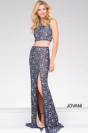 Jovani 46002 long two piece size 6 Navy prom dress pageant gown