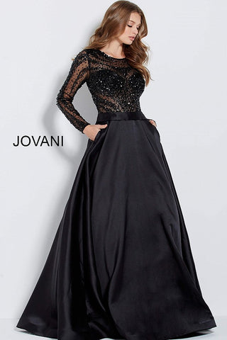 Jovani 46066 long sleeve beaded bodice A line prom dress