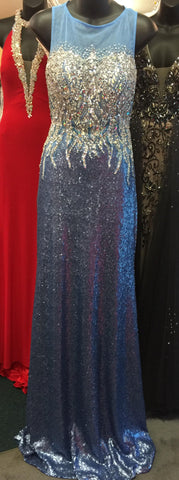 Precious Formals L46814 in English Blue size 0 prom dress