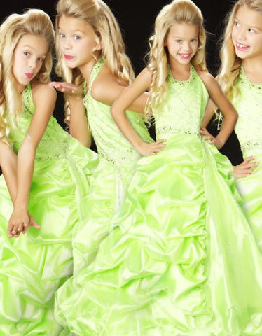Sugar Mac Duggal 4700S Size 12 Long Lime Girls Pageant Dress Ballgown Halter