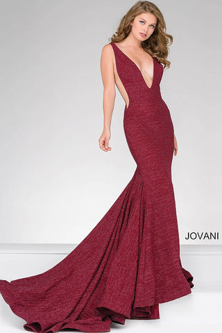 Jovani 47075 plunging neckline glitter jersey mermaid prom dress