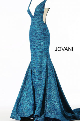 Jovani 47075 Floor length form fitting glitter jersey prom dress with train and horse hair trim features sleeveless bodice with plunging neckline, sheer side panels and open back.  Prom, Pageant and Evening gowns