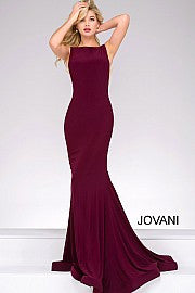 Jovani 47100 fitted high neckline open back jersey prom dress