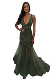 Jovani 4741 Long Fitted Pageant Prom Dress Crystal Embellished Mermaid V Neck