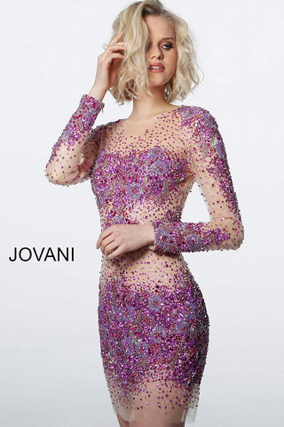 Jovani 47598 is a sheer beaded & Crystal Rhinestone Embellished short fitted cocktail dress. Featuring long sleeves & a high neckline short Formal evening gown is perfect for Prom, Pageant, homecoming & More!  Available Colors: Fuchsia/Nude, Teal/Nude  Available Sizes:  00-24