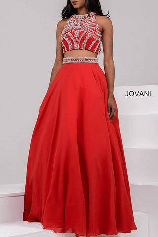 Jovani 47848 size 10 Red two piece prom gown pageant dress Ballgown