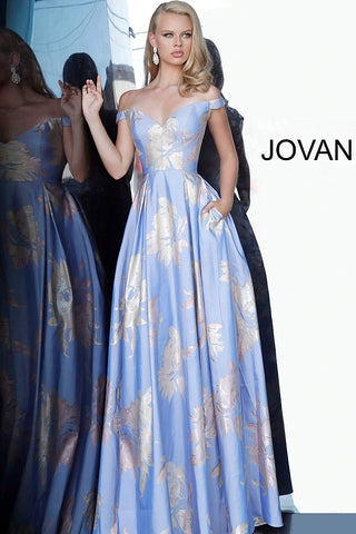 Jovani 48361 Off the Shoulder Metallic Floral Print Prom Dress Pleated Pockets Ballgown