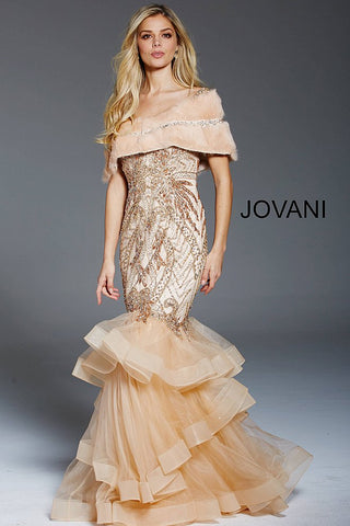 Jovani Champagne Embellished Sleeveless Evening Dress 48729