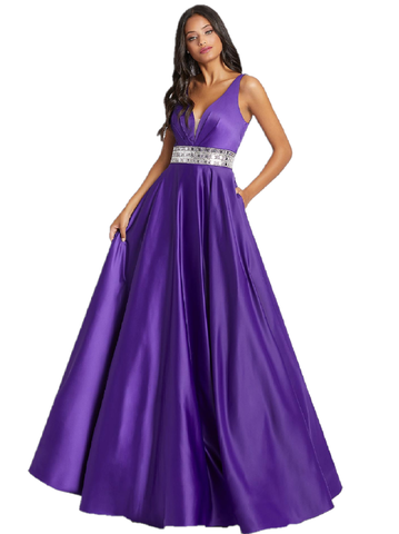 Mac Duggal Cassandra Stone 48879A Looking for the perfect prom look? Style 48879A is for you! This satin V-neck gown has a eye-catching bejeweled belt and also has pockets! A Line Formal Satin Prom Ballgown V Neckline Formal Evening Gown. Pageant.  Available Sizes: 0,2,4,6,8,10,12,14,16  Available Colors: Purple