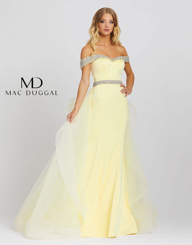 Mac Duggal 48913M Lemon is the trending color for Prom 2021! Style 48913M is an A-line gown with an off the shoulder neckline and overskirt. This gown has silver embellishments along the belt and neckline. Long off the shoulder Crystal embellished straps with a sweetheart neckline. Lush over skirt. Pageant, Prom, Formal Gown  Available Sizes: 0,2,4,6,8,10,12,14,16  Available Colors: Lemon