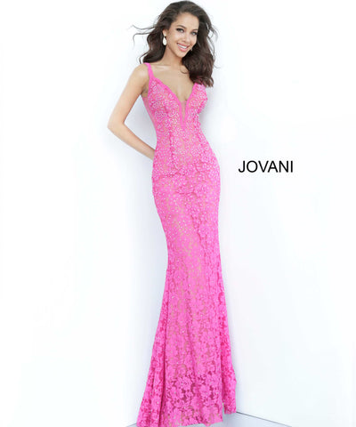 Jovani 48994 Stretch lace prom dress embellished with heat set stones, nude underlay, fitted silhouette, straps over shoulders, plunging v neck with sheer mesh, sheer mesh inserts along the sides, sweeping train, low v back. Makes an excellent pageant evening gown.   Available colors:  black, bright pink, emerald, fuchsia, grey, light-blue, light-pink, lilac, navy, peach, periwinkle, red, white