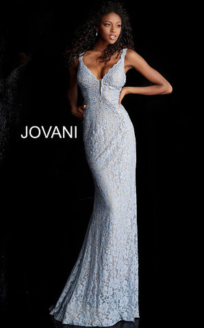 Jovani 48994 long fitted embellished lace prom dress pageant gown