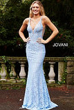 Jovani 48994 Prom Dress stretch lace embellished with heat set stones, fitted silhouette, evening gown, straps over shoulders, plunging v neckline with sheer mesh, and sheer mesh inserts along the sides, sweeping train low v back pageant gown.