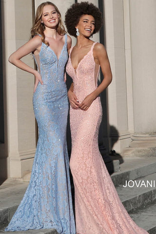 Jovani 48994 long fitted lace prom dress