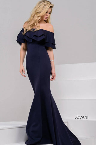 Jovani Navy off the shoulder Mermaid Dress 49631