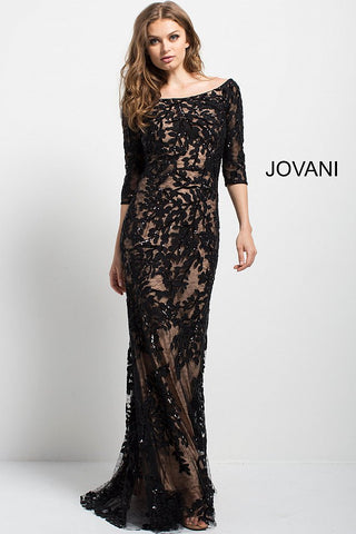 Jovani Black Lace Off the Shoulder Fitted Evening Gown 49636 –  GlassSlipperFormals 7e123cefc