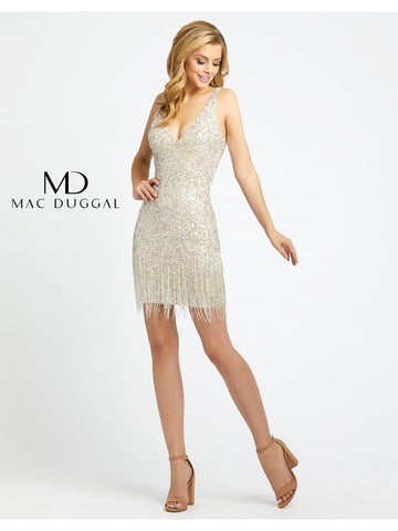 Mac Duggal 4971D is a short fitted formal cocktail dress. Fully embellished with sequins & Beading this short prom dress features beaded fringe tassels along the base of the skirt. Great formal gown for any event! Available Sizes: 0,2,4,6,8,10,12,14  Available Colors: Nude/Silver