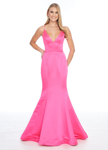 Ashley Lauren 1793 v neckline spaghetti straps that cross and tie in the open back wide waistband heavy satin mermaid prom dress pageant gown evening gown  Available colors:  Neon, Hot Pink, Coral  Available sizes:  0-18  All eyes will be on you in this heavy satin fit and flare gown featuring a V-Neckline and a lace-up back.  V-Neckline Lace Up Back Fit & Flare Silhouette Heavy Satin