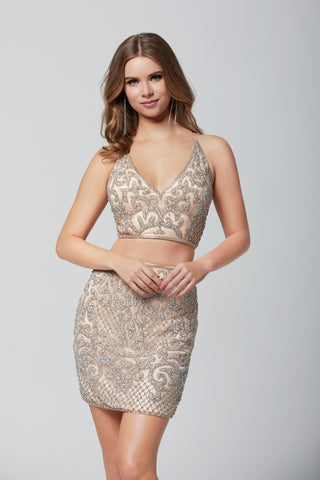 Primavera Couture 3321 two piece beaded homecoming dress