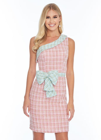 Ashley Lauren 4330 one shoulder tweed short cocktail dress with bow