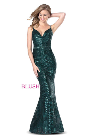 Blush Prom Dress 11912 Long Fitted Sequin Embellished Evening Gown 2020 V Neck Flare