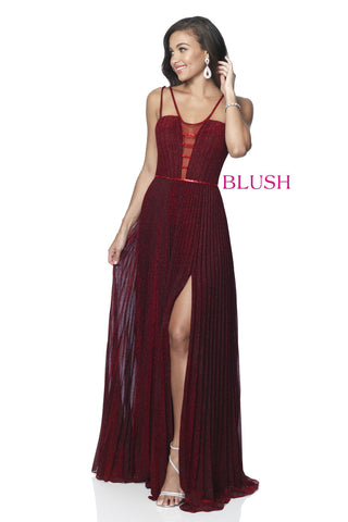 Blush Prom Dress 11907 Long Iridescent Shimmer Pleated Evening Gown Plunging
