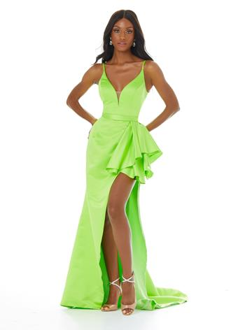 Ashley Lauren 1581 luxurious satin prom dress with v neckline and ruffle at the waistline fitted mermaid evening gown, pageant dress.  Fabric: Heavy Satin   Available colors:  Neon Green, Hot Pink, Red, Royal