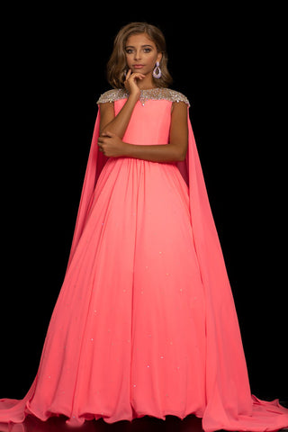 Sugar Kayne C136 by Johnathan Kayne is a girls and preteen pageant dress of flowy chiffon with a sheer embellished cap sleeve flowy chiffon cape.  This dress has an embellished waistline.   Available colors:  Neon Pink, White  Available sizes:  2, 4, 6, 8, 10, 12, 14, 16