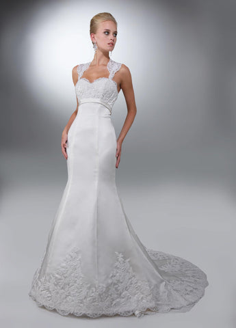 DaVinci Wedding Dress 50083 size 4 White satin fit and flare long dress with lace bodice and straps
