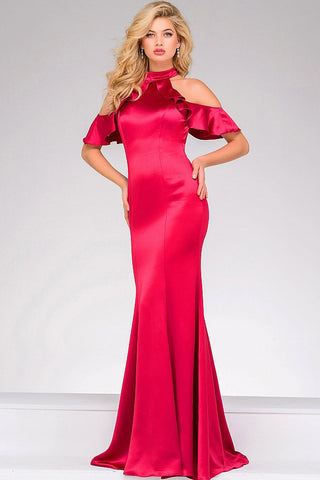 Jovani 50172 high collar neckline with open shoulder ruffle sleeves fitted gown in Berry, Black or Navy