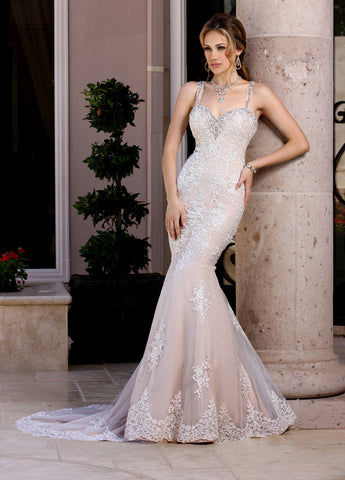 Davinci Bridal 50353 Long Fitted Lace Mermaid Wedding Dress Crystal Strap