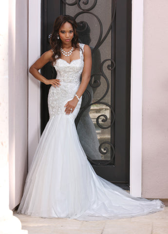Davinci Bridal 50373 Tulle & Lace Mermaid Wedding Dress features a Fitted Lace Bodice with Sweetheart Neckline,Sheer Lace Straps with Back Shoulder Detail & Keyhole. Generously Layered Mermaid Skirt Flares from the Knee into a Chapel Train.  Available for 1-2 Week Delivery!!!  Available Sizes: 2,4,6,8,10,12,14,16,18,20  Available Colors: Ivory