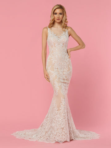 Davinci Bridal 50439 is a stunning Tulle & Lace Fit & Flare Wedding Dress features a Sheer Bateau Neckline & Sheer Back with Faux V-Neck Bodice,V-Pattern Back Detail & Covered Buttons. Skirt with Medallion Lace ends in Chapel Train.  Available for 1-2 Week Delivery!!!  Available Sizes: 2,4,6,8,10,12,14,16,18,20  Available Colors: Ivory/Nude, Ivory/Ivory