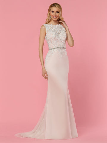 Davinci Bridal 50441 is a Fit & Flare Tulle & Lace Wedding Dress. Featuring a sheer Lace Illusion high neckline and back. Embellished for a wow factor & Cascading down around the hips. Crystal embellished bridal belt. Buttons lining the back seam.  Available for 1-2 Week Delivery!!!  Available Sizes: 2,4,6,8,10,12,14,16,18,20  Available Colors: Ivory/Blush, Ivory/Ivory
