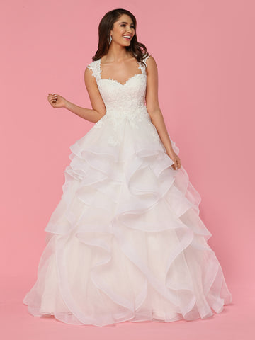 Davinci Bridal 50442 Organza Layer Ruffle Ballgown wedding dress. Lace Bodice with a sweetheart neckline sheer lace straps lead around to a lace illusion sheer back.  with lace cascading down into to full skirt.  Available for 1-2 Week Delivery!!!  Available Sizes: 2,4,6,8,10,12,14,16,18,20  Available Colors: Ivory