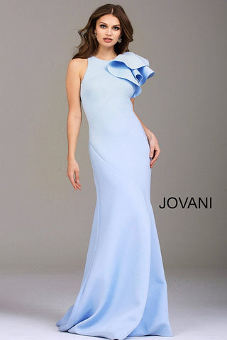 Jovani Light Blue Fitted Scuba Ruffle Shoulder Evening Dress 50479