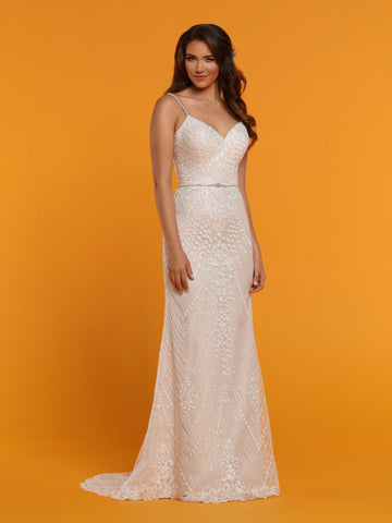 Davinci Bridal 50511 Tulle & Lace Fit & Flare Wedding Dress features a Floral Lace Bodice with V-Neckline, Sheer Lace Wideset Straps, Sheer Lace Back with Covered Buttons & Beaded Waistband. Scalloped Lace Fit & Flare Skirt finishes with a Chapel Train.  Available for 1-2 Week Delivery!!!  Available Sizes: 2,4,6,8,10,12,14,16,18,20  Available Colors: Ivory/Blush, Ivory/Ivory