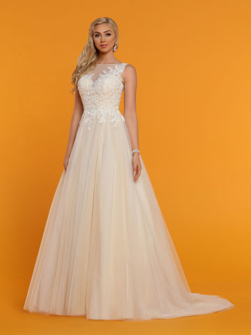 Davinci Bridal 50515 is a Tulle ballgown Wedding Dress. Featuring a sheer illusion lace high neckline and back. Buttons along the back seam. Lace cascades from bodice down into the lush tulle Ballgown skirt.  Available for 1-2 Week Delivery!!!  Available Sizes: 2,4,6,8,10,12,14,16,18,20  Available Colors: Ivory/Nude, Ivory/Ivory