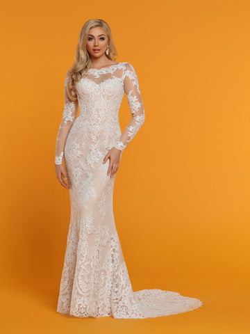 Davinci Bridal 50516 is a Fit & Flare Mermaid Wedding Dress. Featuring a sheer tulle & Lace Illusion Neckline back with scallop lace keyhole cut outs in the back with buttons lining the back seam. Sheer lace long sleeves.  Available for 1-2 Week Delivery!!!  Available Sizes: 2,4,6,8,10,12,14,16,18,20  Available Colors: Ivory/Nude, Ivory/Ivory